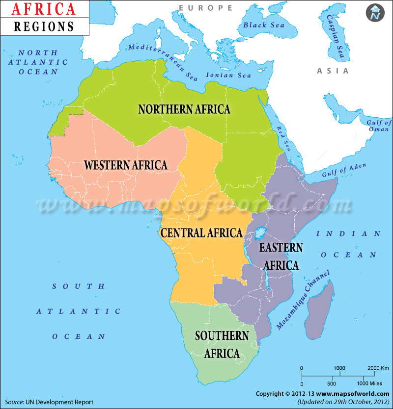 Africa regions map regions of africa africa regions map gumiabroncs Image collections