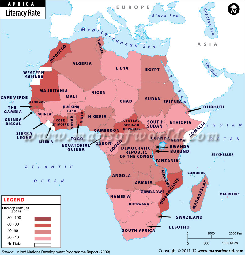 Map of African Countries by Literacy Rate