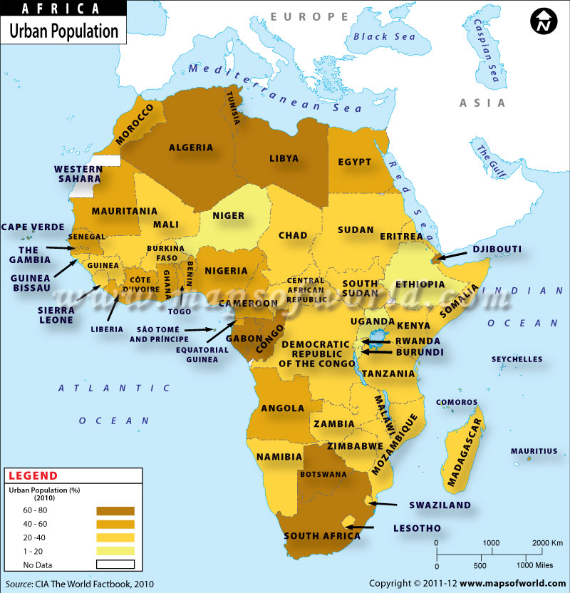 the map of africa countries Map Of African Countries With Urban Population the map of africa countries