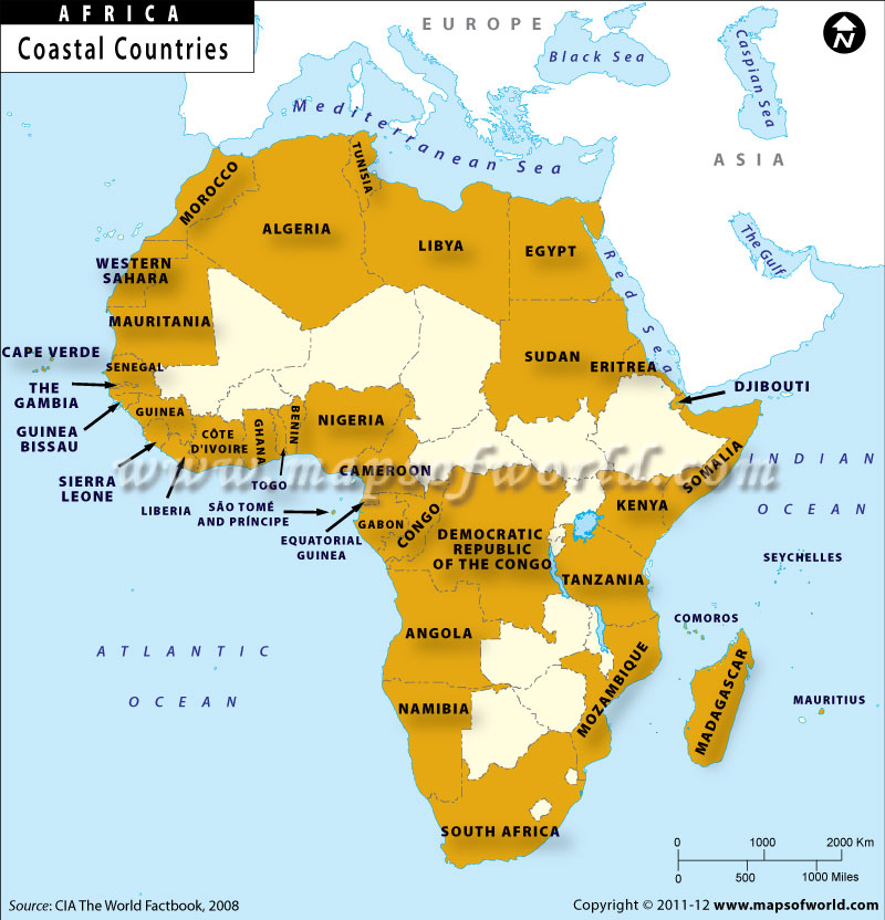 Map of Coastal Countries of Africa