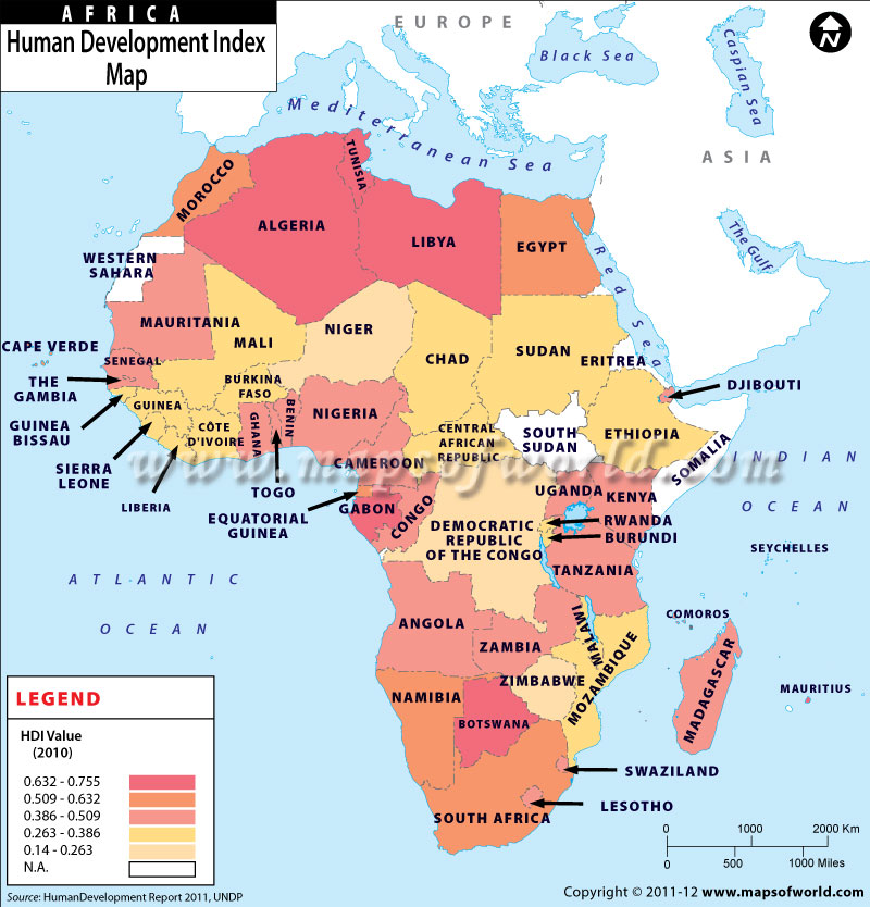 African countries by Human Development Index