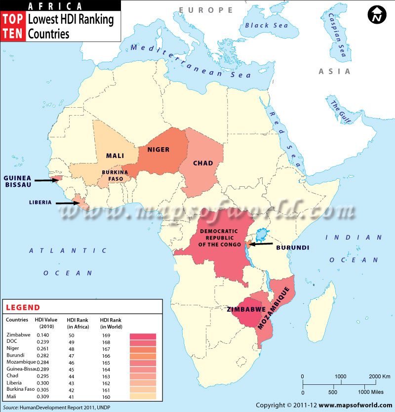Map of African countries with Low Human Development Index Rank