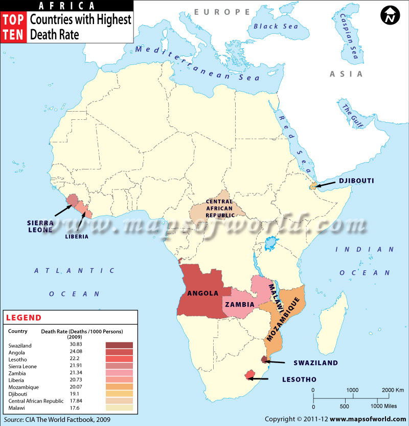 Map of african countries by death rate african countries with highest death rate gumiabroncs Gallery