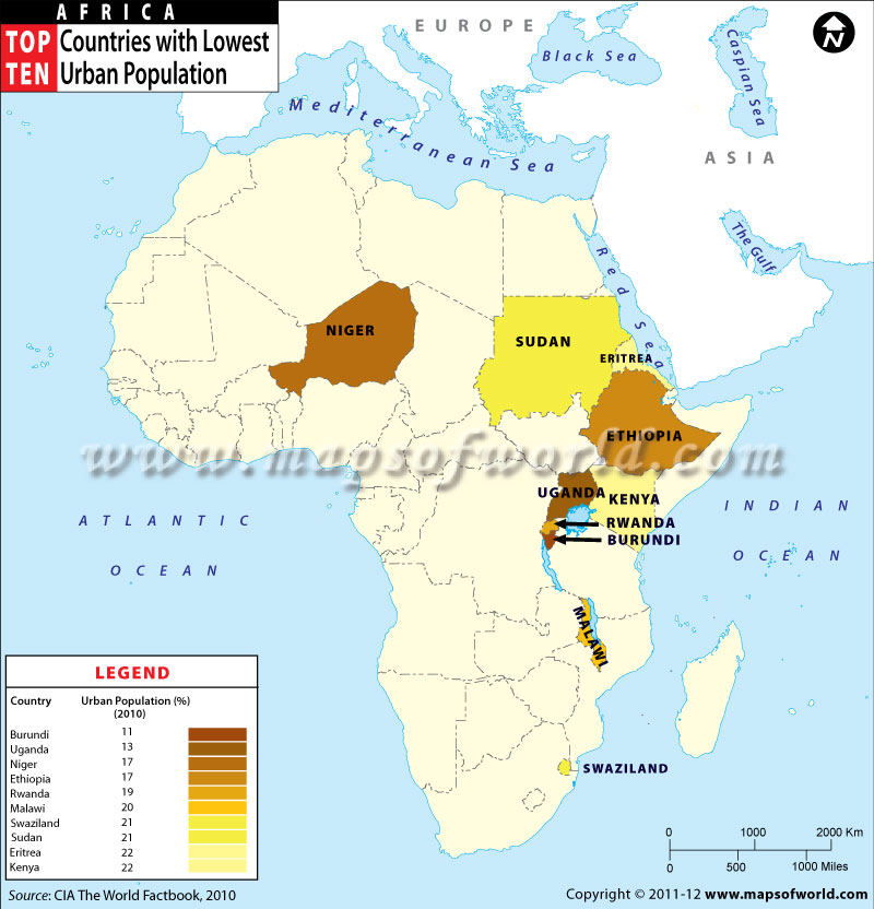 Map Of African Countries With Urban Population