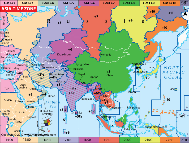 Map Of Asia Time Zones.Asia Time Zone Map Current Local Time In Asia