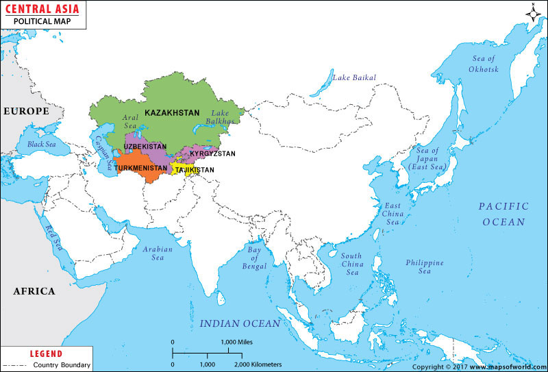 Central Asia Map Map Of Central Asian Countries - Asia maps
