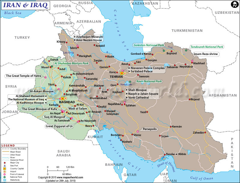 Map of Iraq and Iran