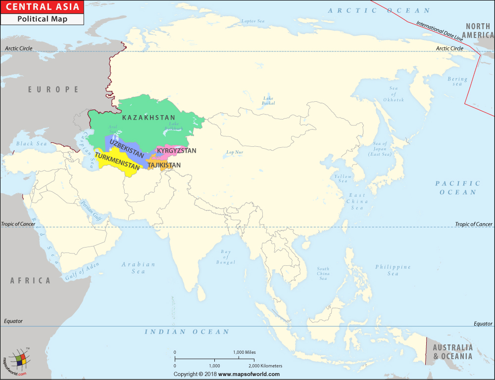 Central Asia Map, Map of Central Asian Countries