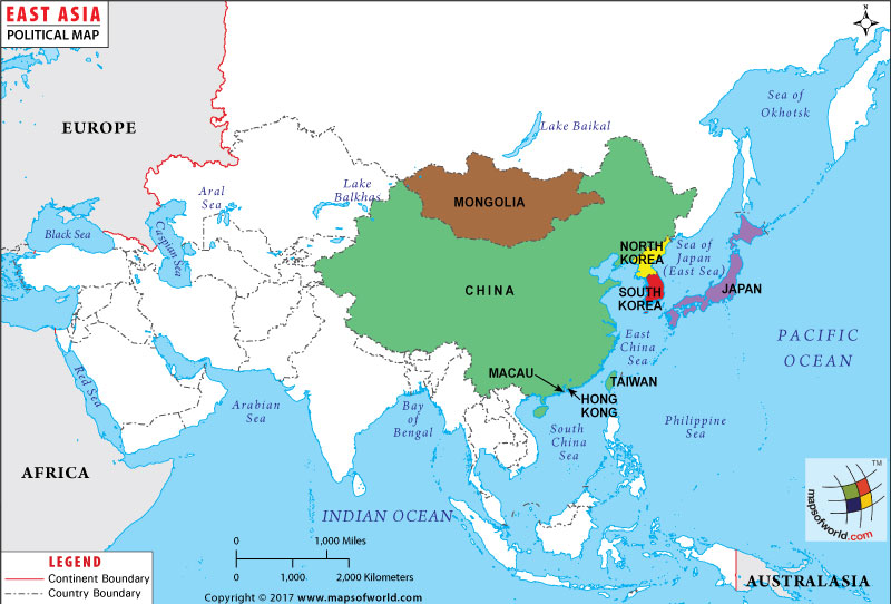 East Asia Map Map of East Asian Countries