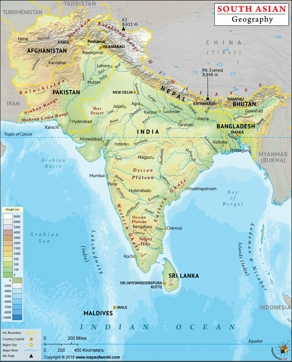 Physical Map Of South Asia South Asia Physical Map | Geography of South Asia