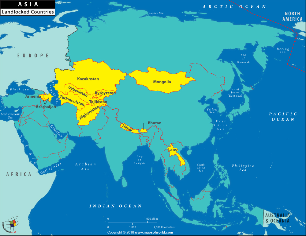 Map Of Asia By Country.Landlocked Asian Country Map Of Landlocked Countries Of Asia