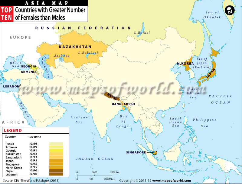 Of Asian Countries With Greater Number Of Females Than Males - Asian countries map