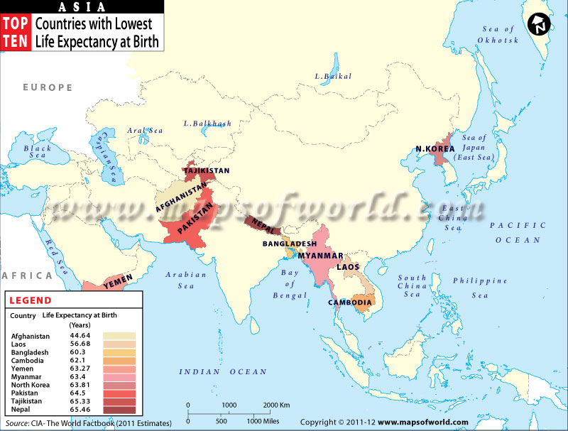 Map of Asian Countries with Lowest Life Expectancy at Birth