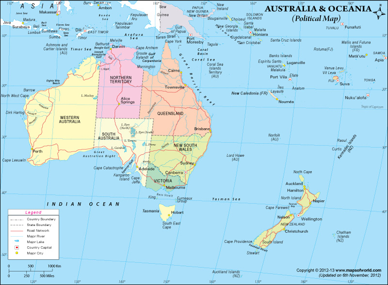 Australia Political Map With Capitals.Political Map Of Oceania