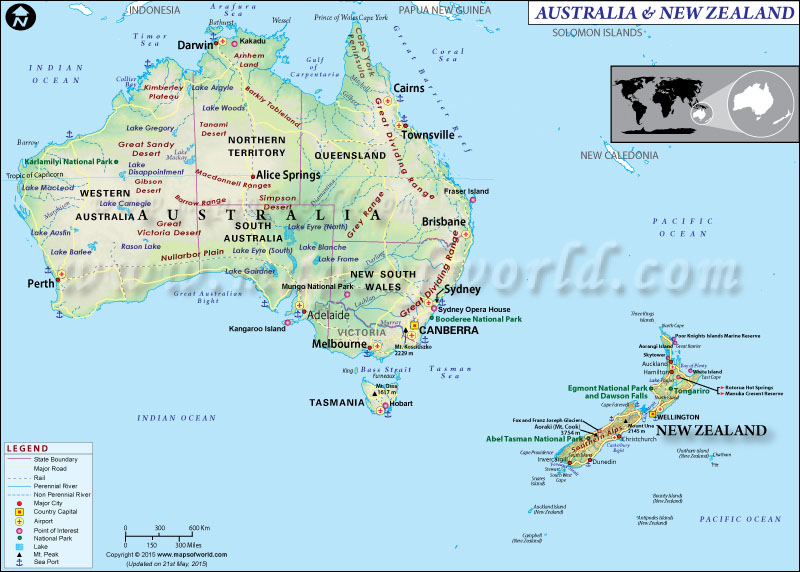 New Zealand Australia Map.Map Of Australia And New Zealand