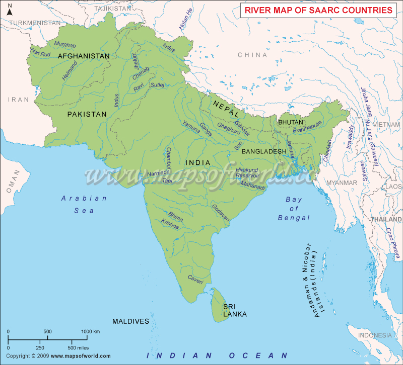 SAARC Countries River Map