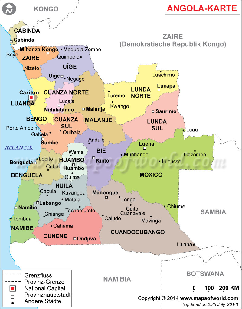 Angola Latitude and Longitude Map