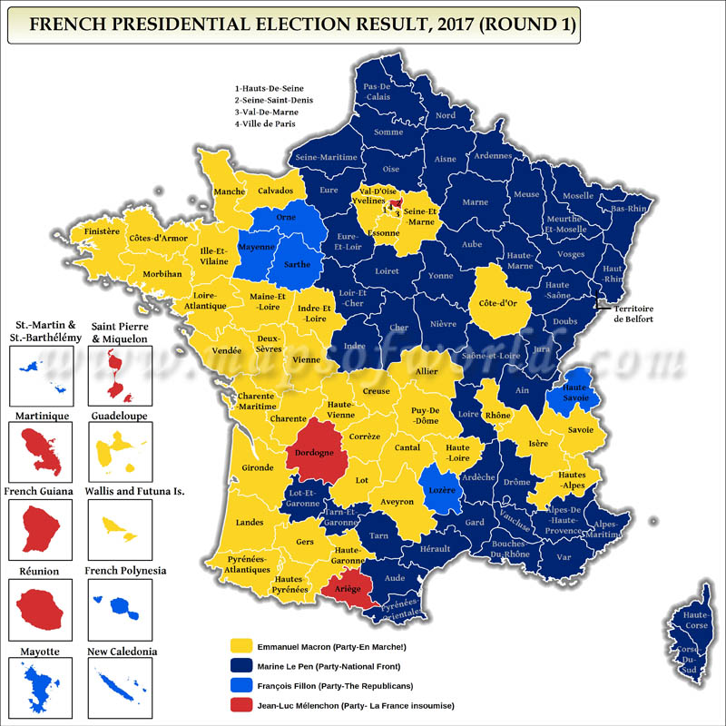 2017 French Presidential Election First Round Results Map