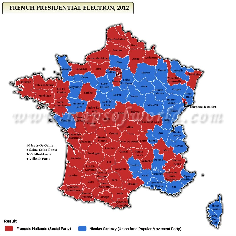 French Presidential Election Results 2012 Map