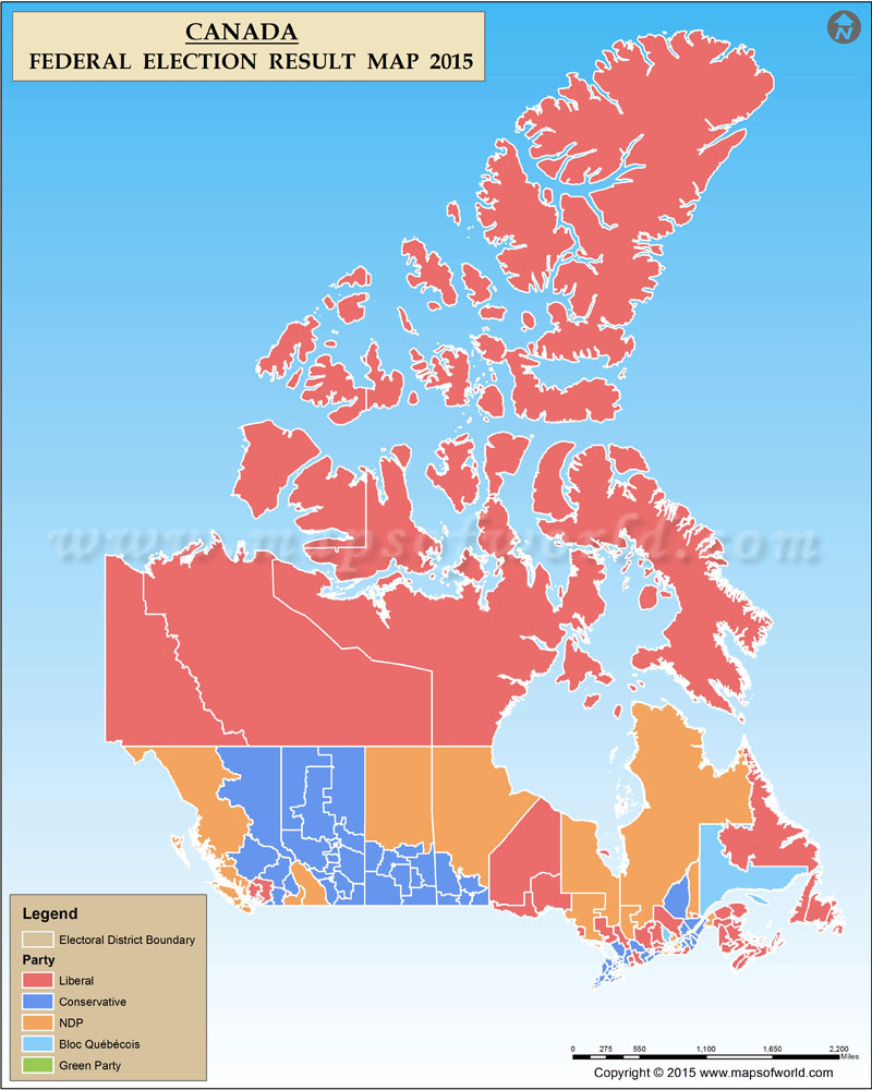 Constituency Map Canada Canada Election 2015 Results Map
