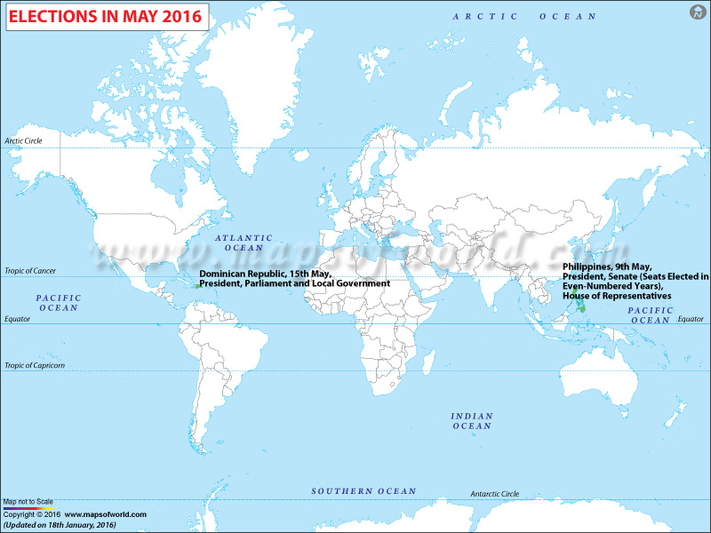 Map of Election Calendar May 2016