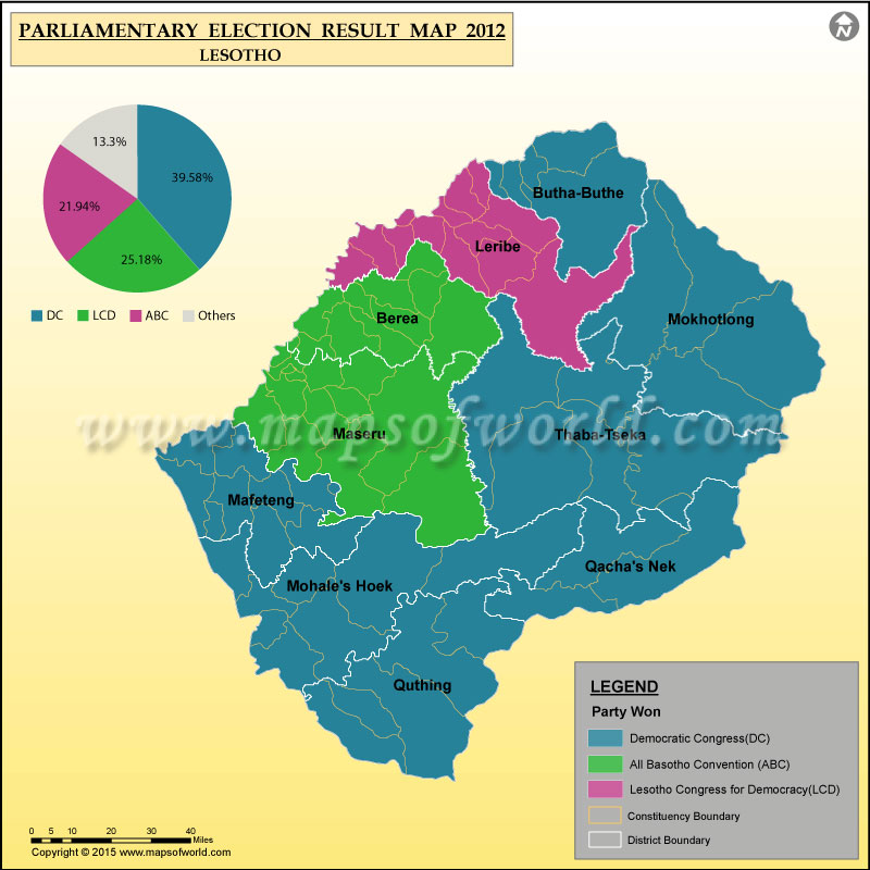 Map Of Lesotho Election Results Previous Election Results Of - Lesotho maps with countries