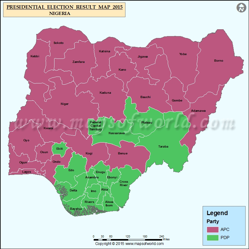 Nigeria Election Results Map Previous Election Results Map Of - Us election results electorial map