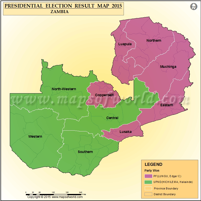 Map of Zambia Presidential Election Result 2015