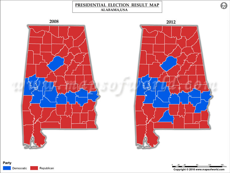 Alabama Election Results 2016 Map Results By County Live