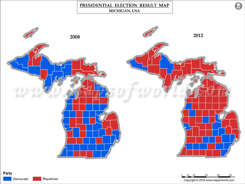 Michigan Election Results Map Michigan Map - Us map of voting results by county