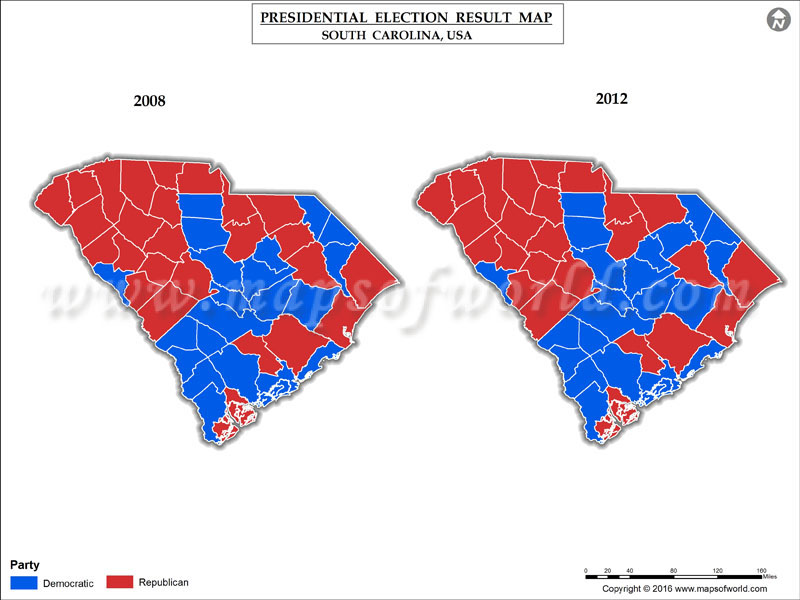 south carolina presidential election results map 2008 vs 2012