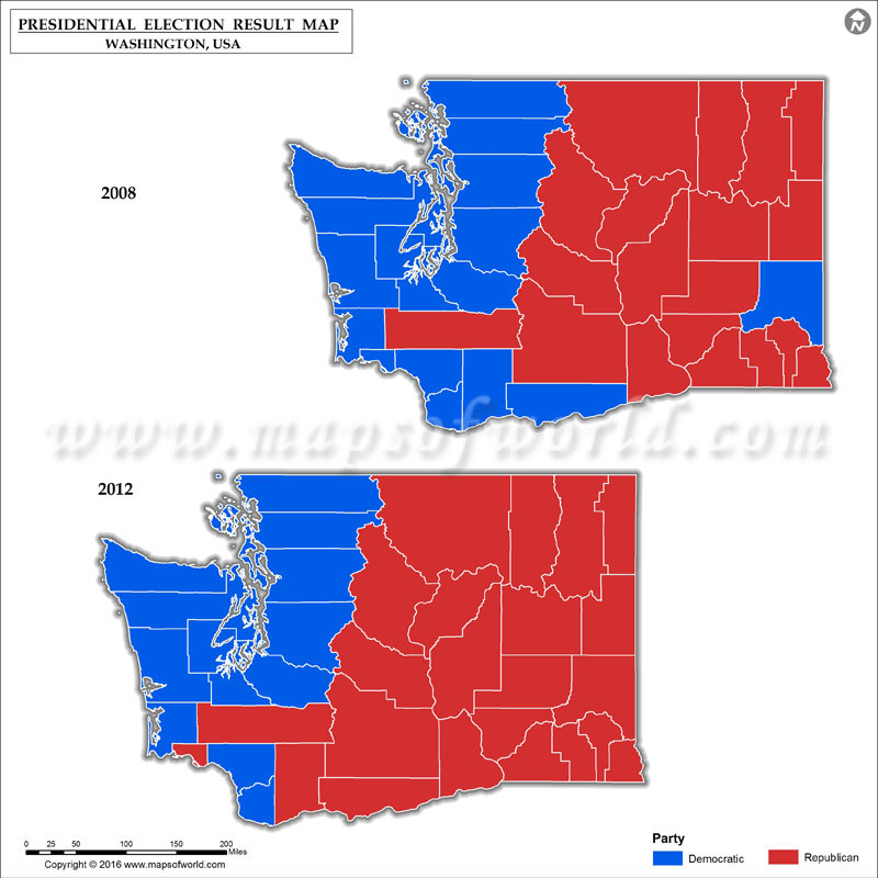 Washington Presidential Election Results Map 2008 Vs 2012