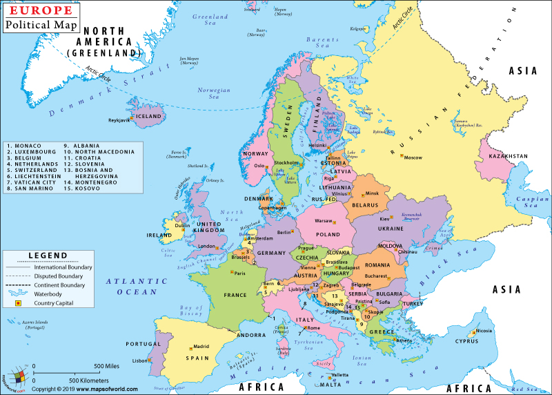 Political Map of Europe with Countries and Capitals