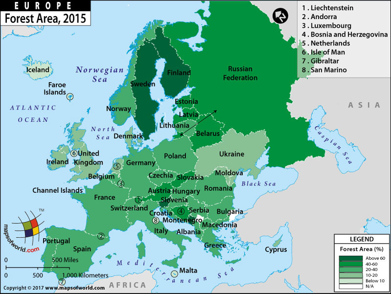 2015 Map Of Europe.European Countries By Forest Area Thematic Map