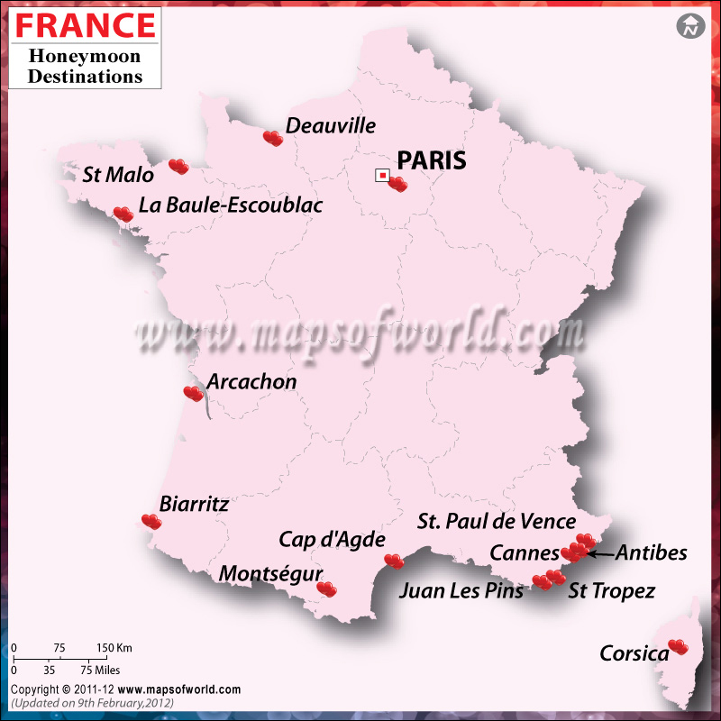 France Honeymoon Destinations Map