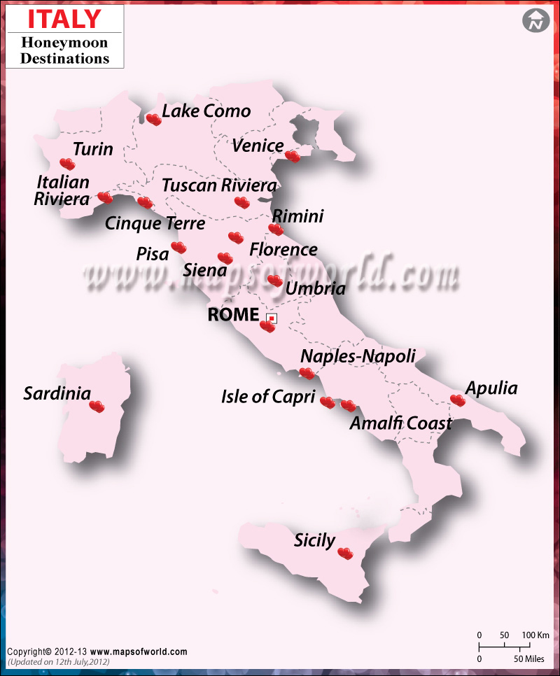 Italy Honeymoon Destinations Map