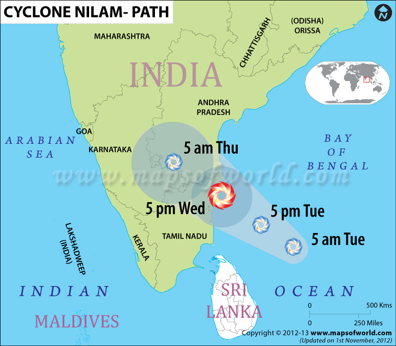 Areas Affected By Cyclone Nilam Map With Projected Path Alert