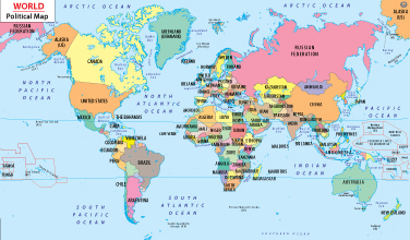 Country Information - Map of countries of the world