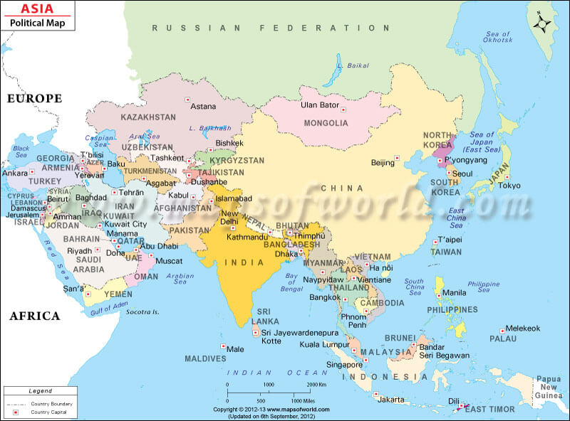 Map Of Asia With Countries And Capitals Asia Political Map | Political Map of Asia With Countries and Capitals