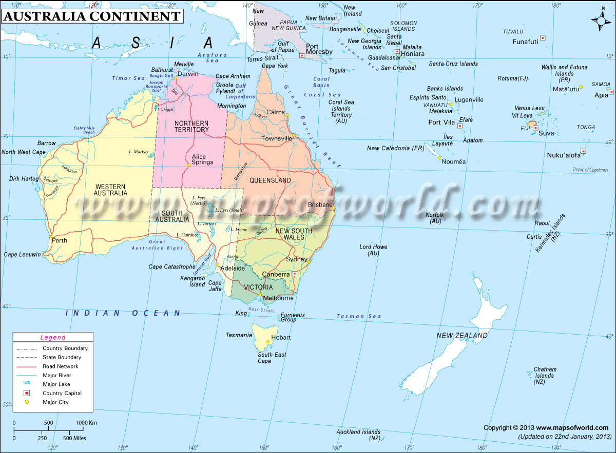 Australia Map In World.Australia Continent Map