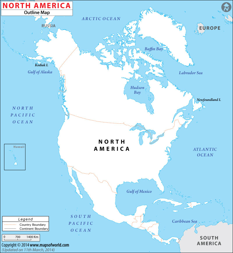 Worksheet. North America Blank Map Outline Map of North America