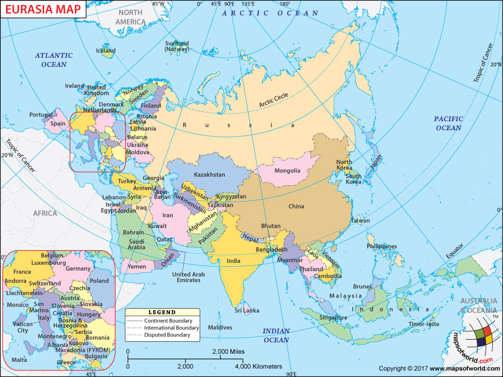 Eurasia Map, Map of Eurasia with with European and Asian Countries