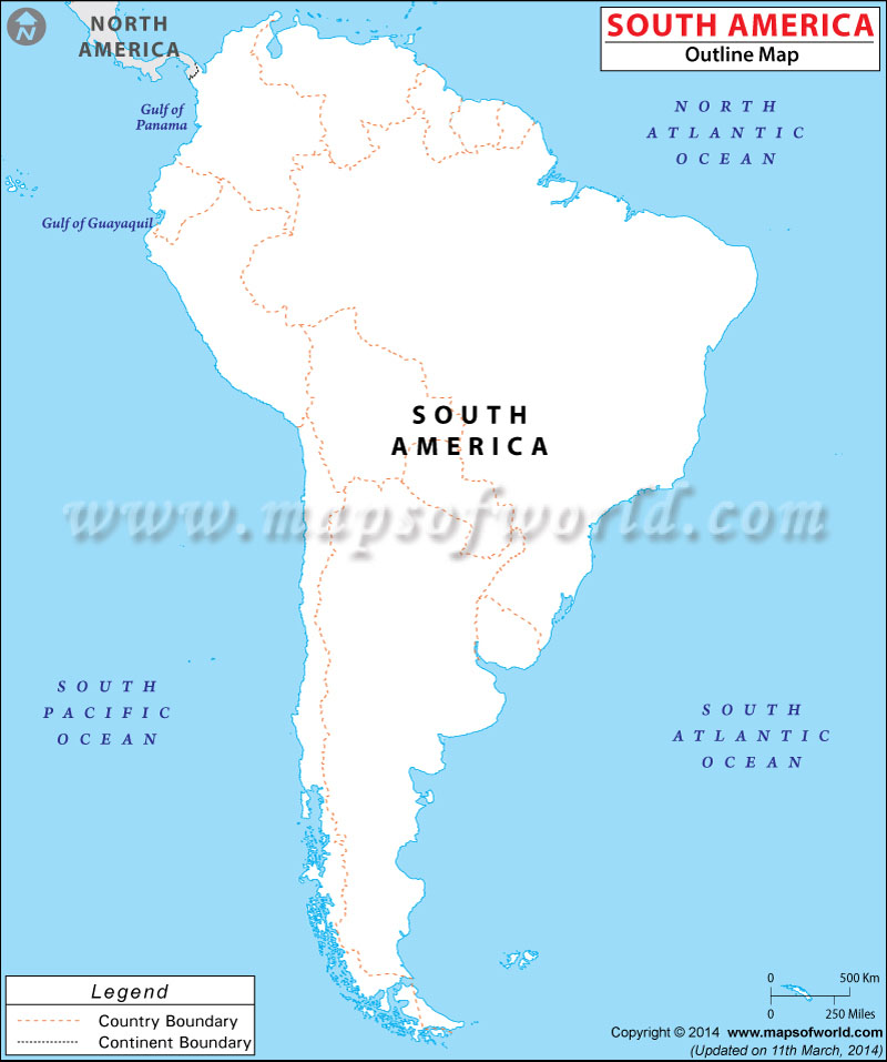 Worksheet. South America Blank Map  Outline Map of South America