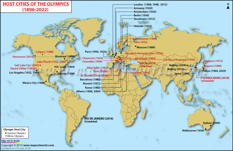 World Map Showing Olympics Hosts Cities