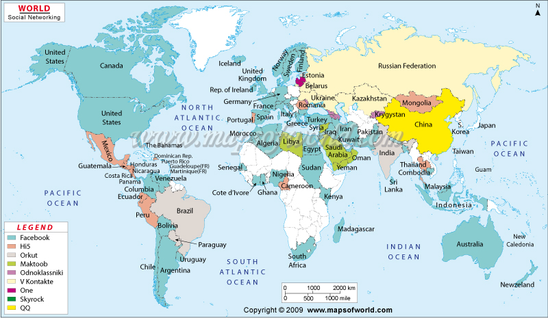 Social Networking Websites Popularity Map