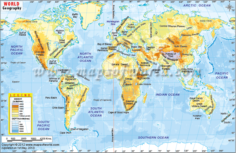 Geographic Map Of World.World Geography Map