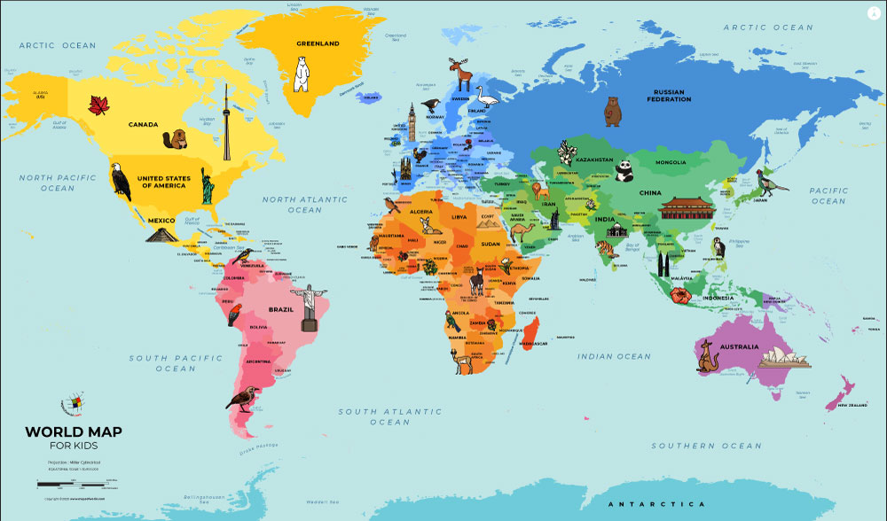 World Map For Kids Colorful World Map For Kids