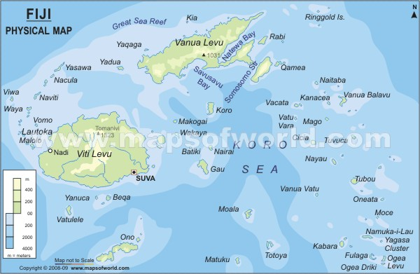 Fiji physical map physical map of fiji fiji physical map gumiabroncs Gallery