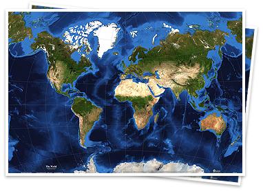 World Satellite Imagery Map - Setlight map of world