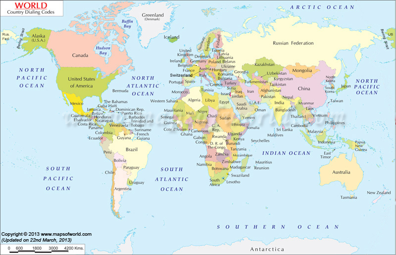 Telephone Area Codes Area Code Lookup Area Codes Map - Map of countries of the world